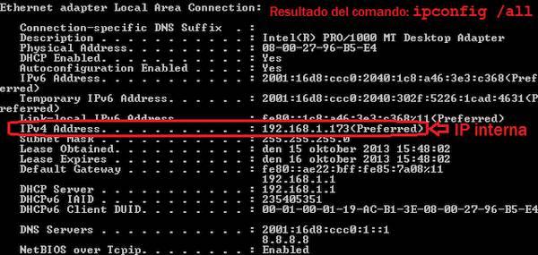 Como saber mi IP interna